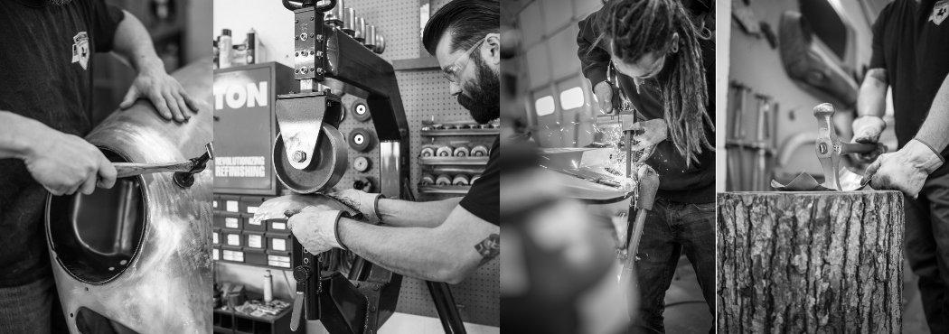 image collage of porsche craftmen working