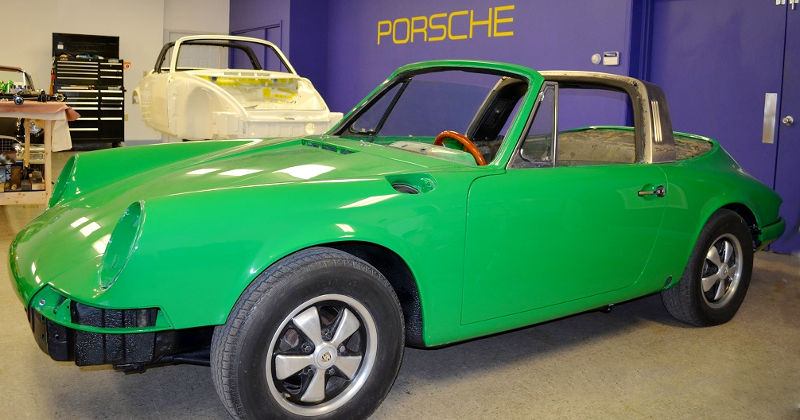 conda green Porsche during assembly