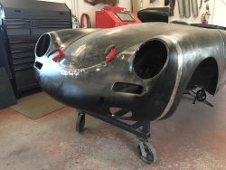 1961 Porsche 356 roadster in the metal shop