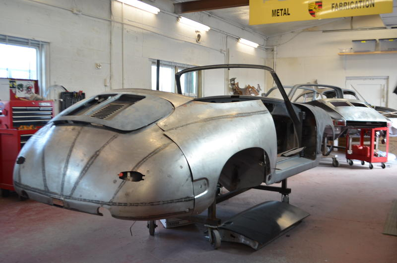 1964 Porsche 356 in the metal shop