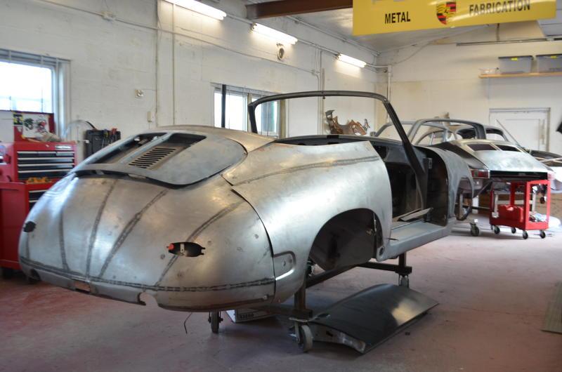1964 Porsche 356 in the metal shop